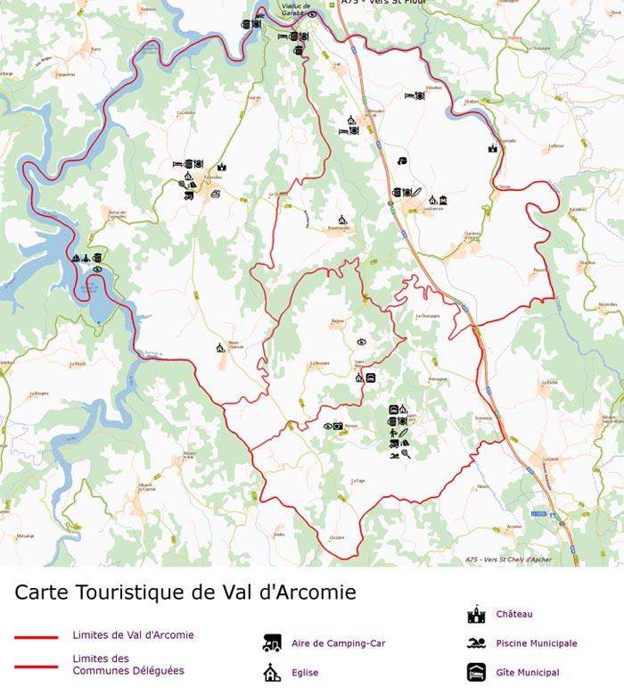 Carte touristique de Val d'Arcomie