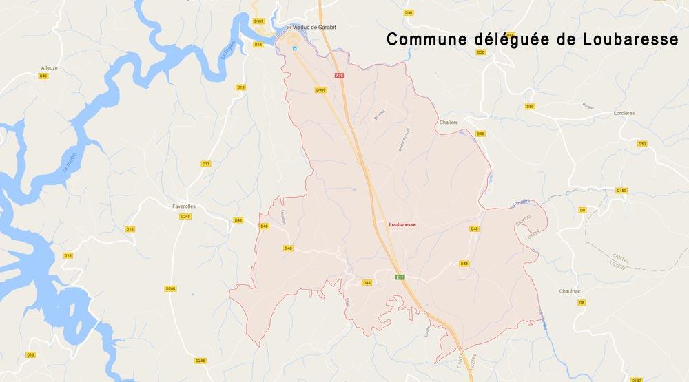 Carte commune déléguée de Loubaresse