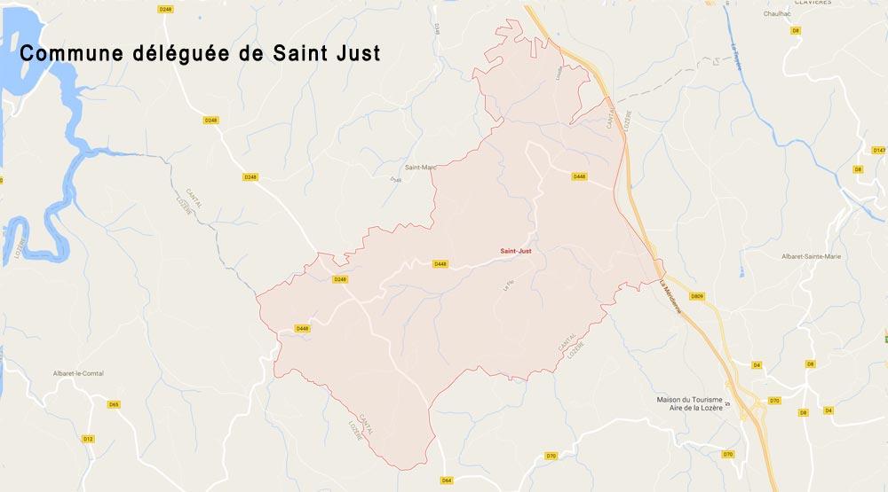 Carte commune déléguée de Saint-just